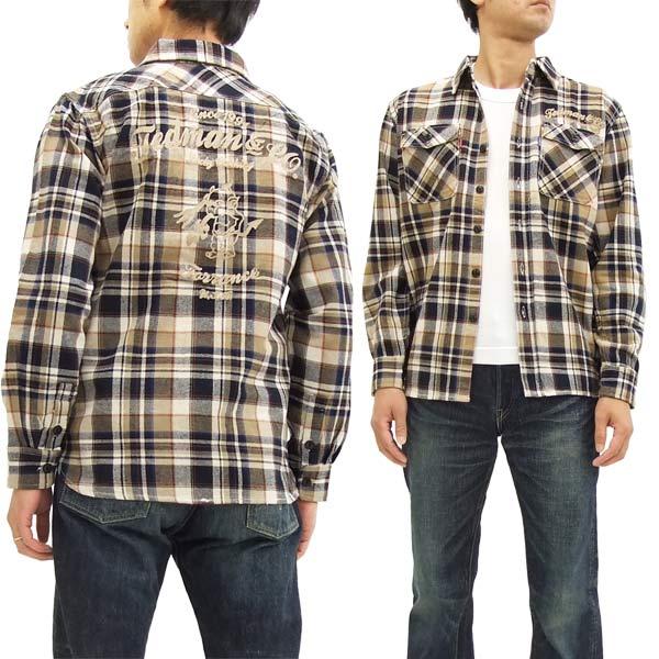 テッドマン ネルシャツ TNS-600 TEDMAN メンズ チェック 長袖シャツ 紺×ベージュ 新品
