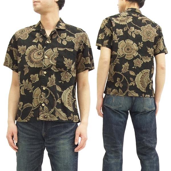 備中倉敷工房 和柄 オープンシャツ 25834 倉 花柄 メンズ 半袖シャツ ブラック 新品