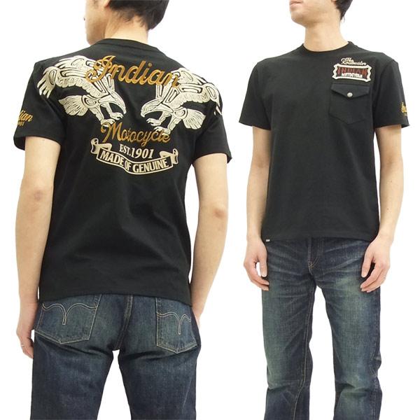 インディアンモトサイクル Tシャツ IMST-704 サンダーバード メンズ 半袖tee ブラック 新品