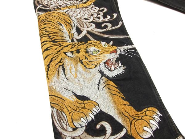 fe713850 Product description: Karakuri-Tamashii Japanese Tiger Embroidered Jeans  Men's 272210 Black Denim