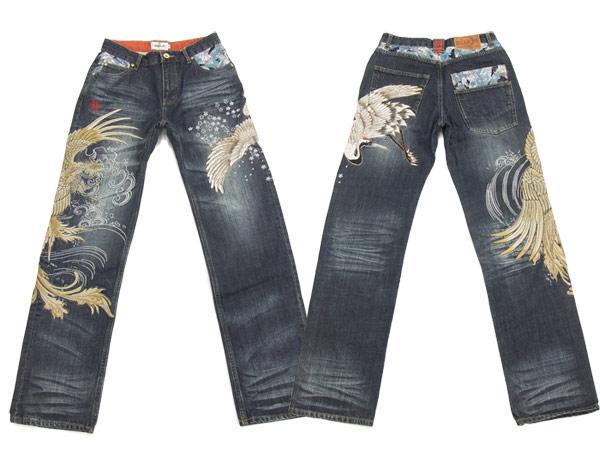对絡繰魂牛仔裤272211凤凰鹤刺绣和睦花纹人牛仔裤牛仔裤新货