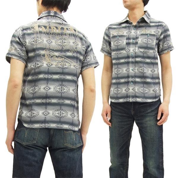 インディアンモトサイクル ワークシャツ IMSS-702 ネイティブ柄 メンズ 半袖シャツ チャコール 新品