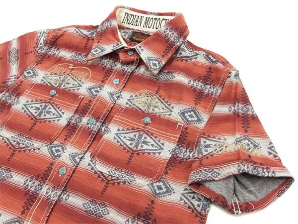 Indian Motocycle Native Pattern Shirt IMSS-702 Men's short Sleeve Shirts Red