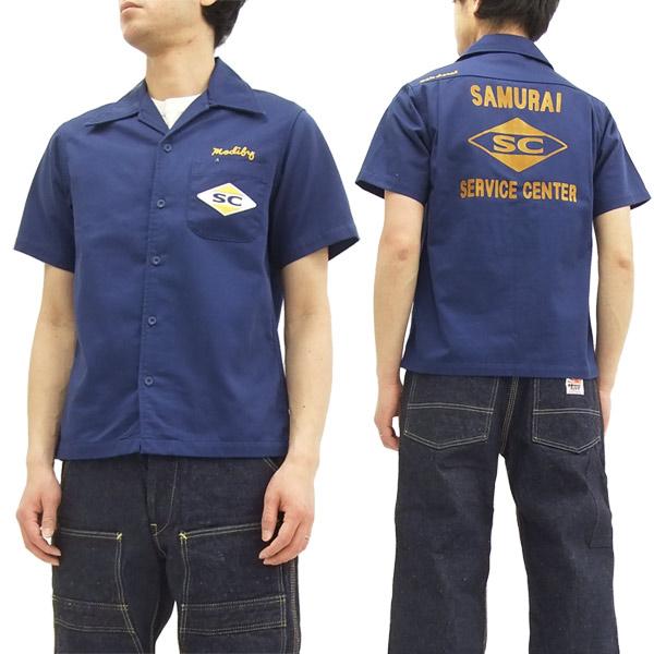 サムライジーンズ オープンカラーシャツ MCTC17 サムライ二輪車倶楽 メンズ 半袖シャツ ネイビー 新品