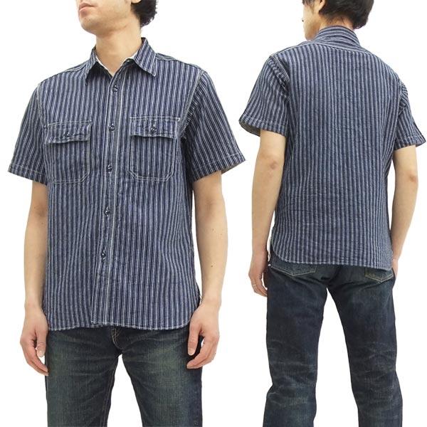 シュガーケーン ストライプ ワークシャツ SC37644 Sugar Cane メンズ 半袖シャツ #128ネイビー 新品