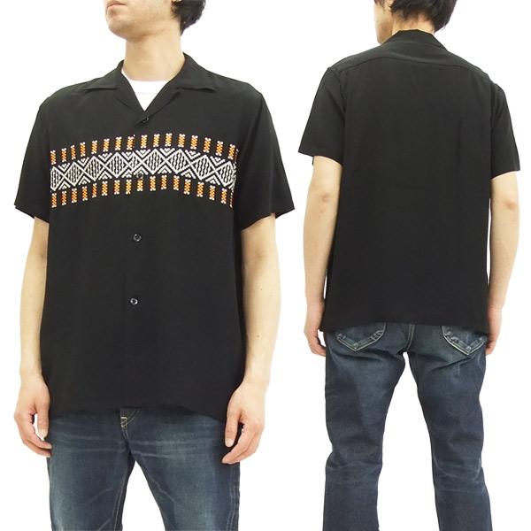 スタイルアイズ オープンシャツ SE37607 ボーダー柄 東洋エンタープライズ メンズ 半袖シャツ #119ブラック 新品