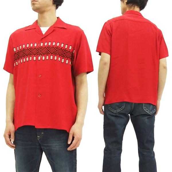 スタイルアイズ オープンシャツ SE37607 ボーダー柄 東洋エンタープライズ メンズ 半袖シャツ #165レッド 新品