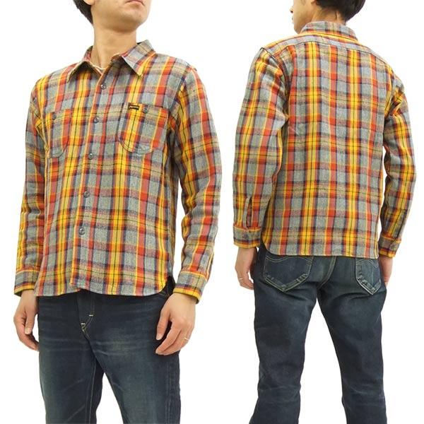 フェローズ チェック ネルシャツ 17W-720WS Pherrow's メンズ ワークシャツ 長袖シャツ 杢グレー/イエロー 新品