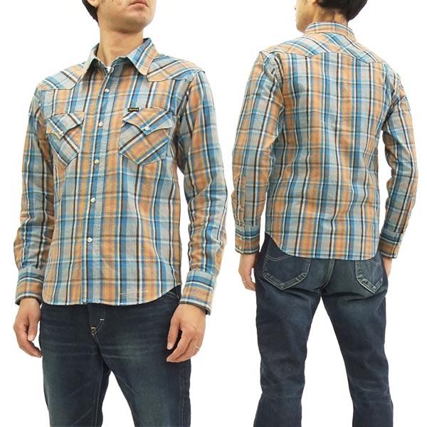 フェローズ チェック ウェスタンシャツ 17W-833CS-CHK メンズ ウエスタン 長袖シャツ サックス 新品