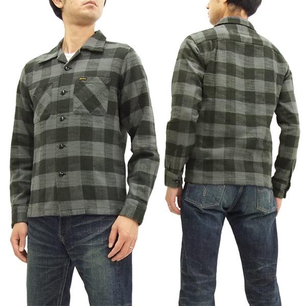 フェローズ オープンカラーシャツ 17W-POLS1 ブロックチェック フランネルシャツ メンズ 長袖シャツ グレー 新品