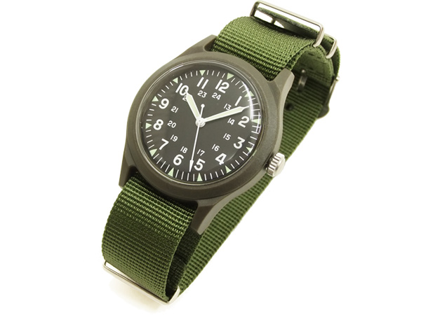 f3450ff9665da 【本物新品保証】 アルファ ベトナムウォッチ ALW-46374 ALPHA 腕時計 メンズ ミリタリーウォッチ ブラック×V.グリーン 新品 円高還元