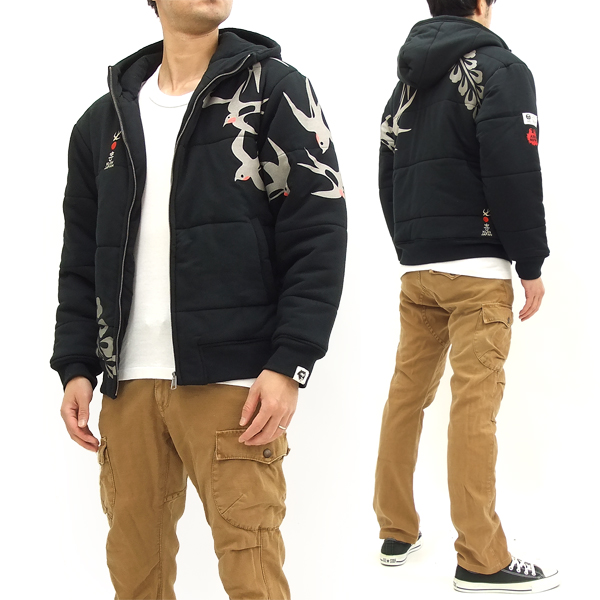 喜人 中綿入り スウェットパーカージャケット KJ-71306 メンズ 燕柄 和柄 アウター ブラック 新品
