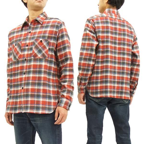 シュガーケーン SC27698 ツイルチェック ワークシャツ メンズ 長袖シャツ #165レッド 新品