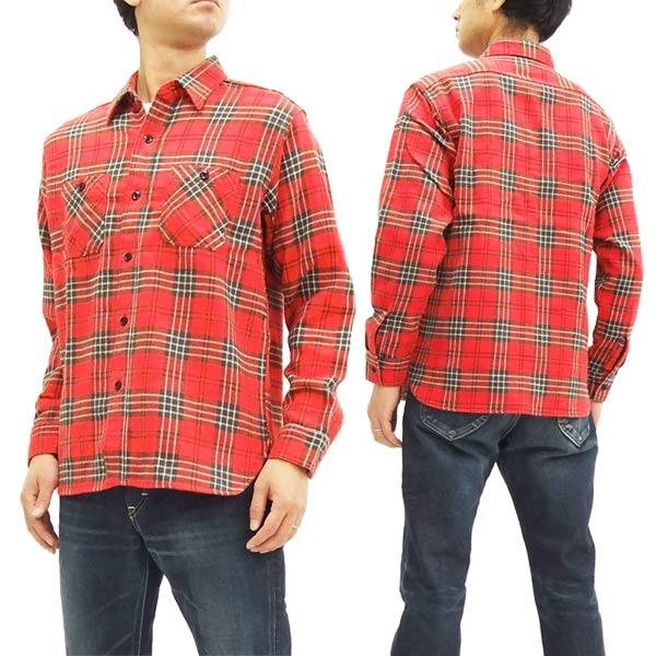 シュガーケーン SC27701 ツイルチェック ワークシャツ メンズ 長袖シャツ #165レッド 新品