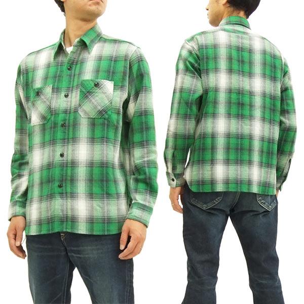 シュガーケーン SC27706 ツイルチェック ワークシャツ メンズ 長袖シャツ #145グリーン 新品