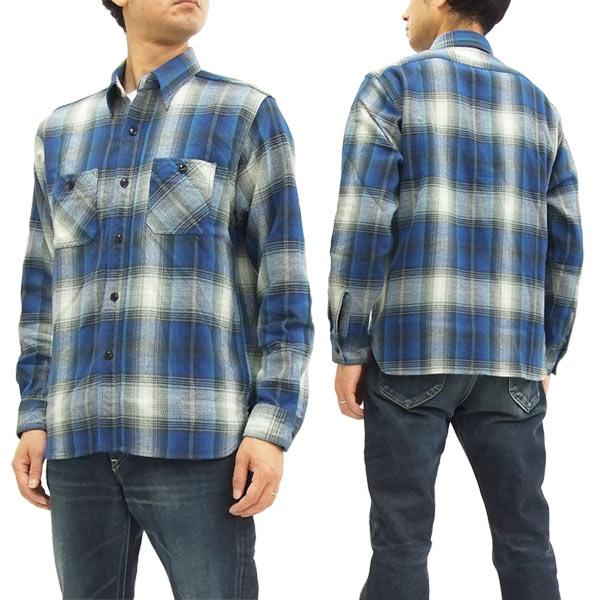 シュガーケーン SC27706 ツイルチェック ワークシャツ メンズ 長袖シャツ #125ブルー 新品