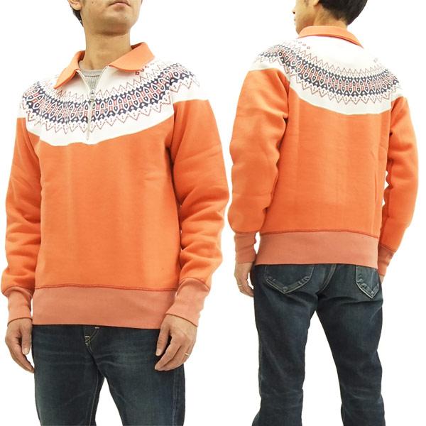 バーンズ アウトフィッターズ ハーフジップ スウェットシャツ 雪柄 BR-7301 メンズ #65オレンジ 新品