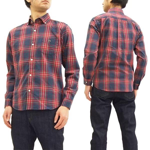 BARNS バーンズ BR-7445 チェック 長袖シャツ メンズ ワイドスブレット衿 ボタンダウンシャツ #29ネイビー 新品