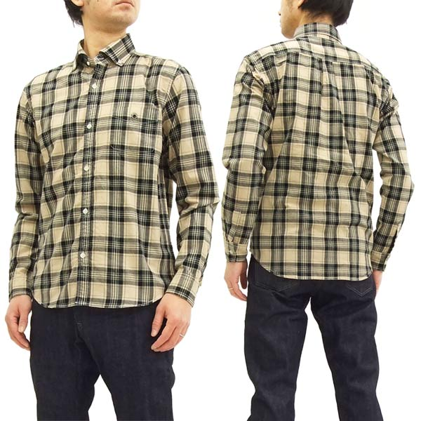 BARNS バーンズ BR-7445 チェック 長袖シャツ メンズ ワイドスブレット衿 ボタンダウンシャツ #14ベージュ 新品