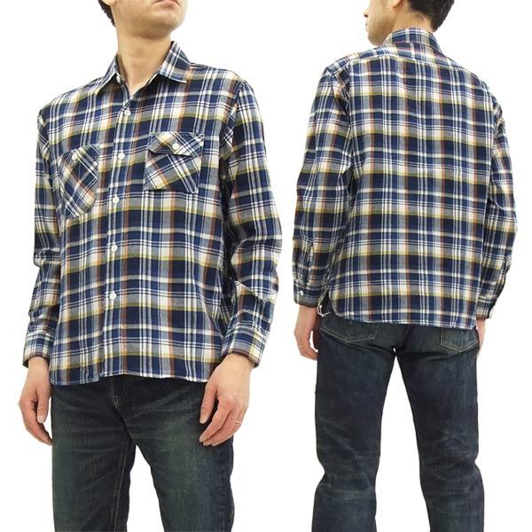 シュガーケーン SC27821 マドラスチェック 長袖シャツ メンズ ライトウェイト ワークシャツ #128ネイビー 新品