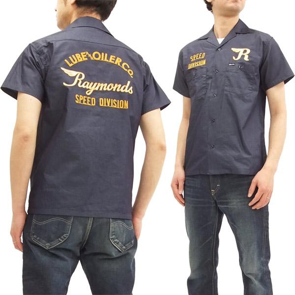 フェローズ 18S-POES1 オープンカラーシャツ Pherrow's Pherrows メンズ 刺繍カスタム 半袖シャツ ネイビー 新品