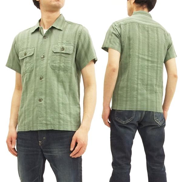 フェローズ 18S-POG107 綿麻 オープンカラーシャツ メンズ ジャガード ストライプ 半袖シャツ オリーブ 新品