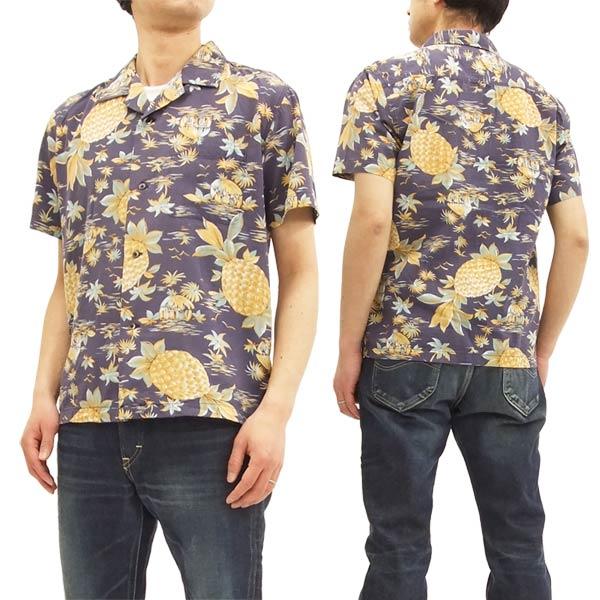 バーンズ アウトフィッターズ BR-7421 アロハシャツ パイナップル柄 メンズ 半袖シャツ #29ネイビー 新品