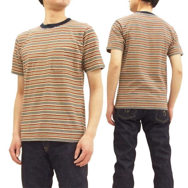 バーンズ アウトフィッターズ BR-7438 ボーダー Tシャツ ポケット付き メンズ 半袖Tee #37ブラウン 新品
