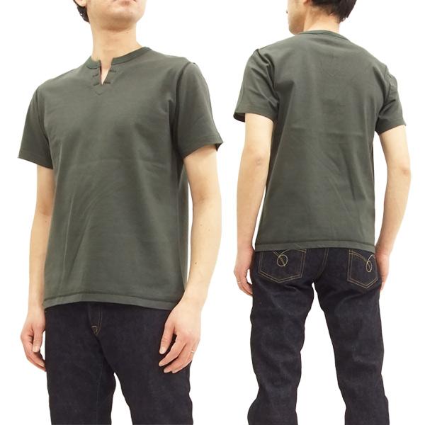 バーンズ アウトフィッターズ BR-8147 スキッパー Tシャツ 無地 吊り編み メンズ 半袖Tee #19ブラック 新品
