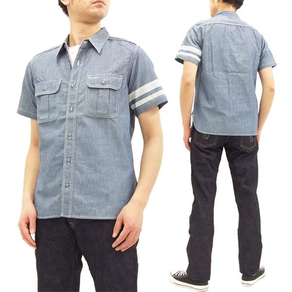 桃太郎ジーンズ SJ092 出陣シャンブレーワークシャツ メンズ 半袖シャツ インディゴ 新品