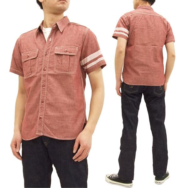 桃太郎ジーンズ SJ092 出陣シャンブレーワークシャツ メンズ 半袖シャツ レッド 新品