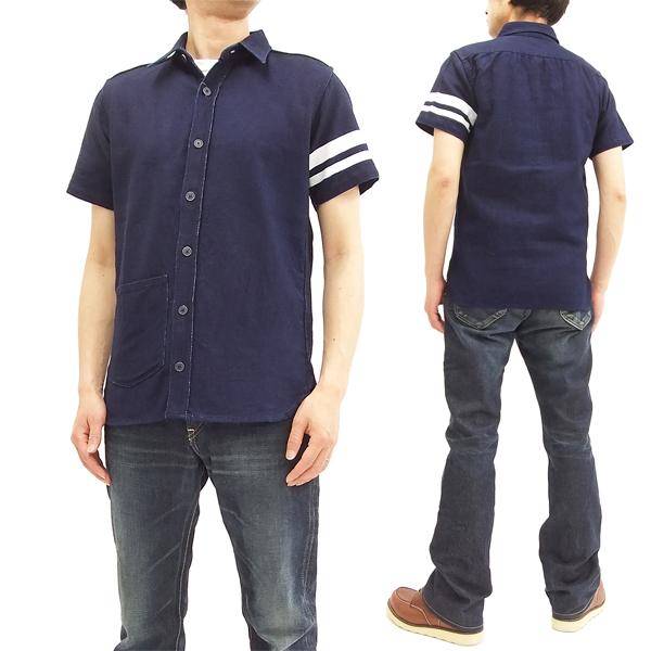 桃太郎ジーンズ 06-071 インディゴオックスフォード・GTBシャツ 出陣 メンズ 半袖シャツ 新品
