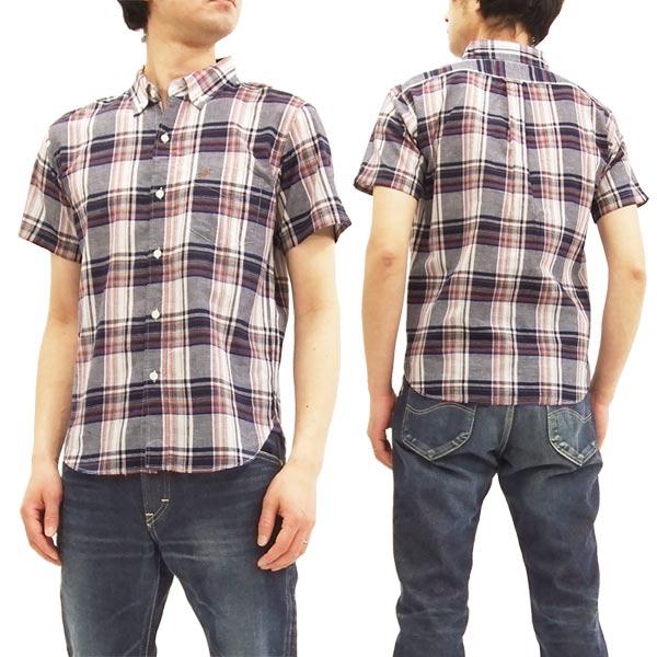 フェローズ 18S-PBDS3 マドラスチェック ボタンダウンシャツ メンズ 半袖シャツ ネイビー 新品