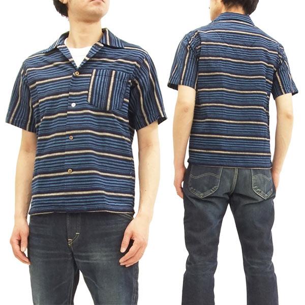 シュガーケーン SC37937 スポーツシャツ ボーダー オープンシャツ メンズ 半袖シャツ ネイビー 新品