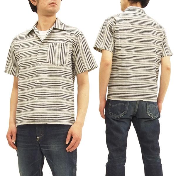 一番人気物 シュガーケーン SC37937 スポーツシャツ ボーダー オープンシャツ メンズ 半袖シャツ オフ白 新品, 靴下屋 Tabio e41eae53