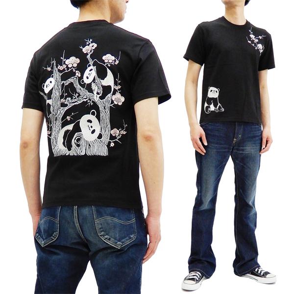 花旅楽団 ST-801 Tシャツ 梅とパンダ 刺繍 メンズ 和柄 半袖tee ブラック 新品