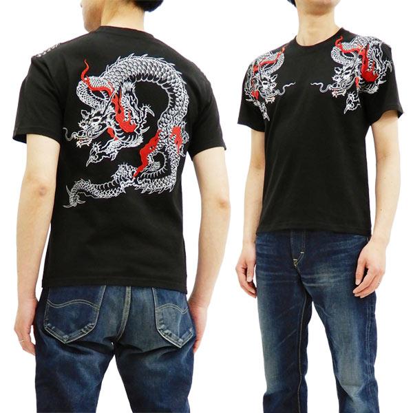 花旅楽団 ST-805 Tシャツ 炎龍 刺繍 メンズ 和柄 半袖tee ブラック 新品