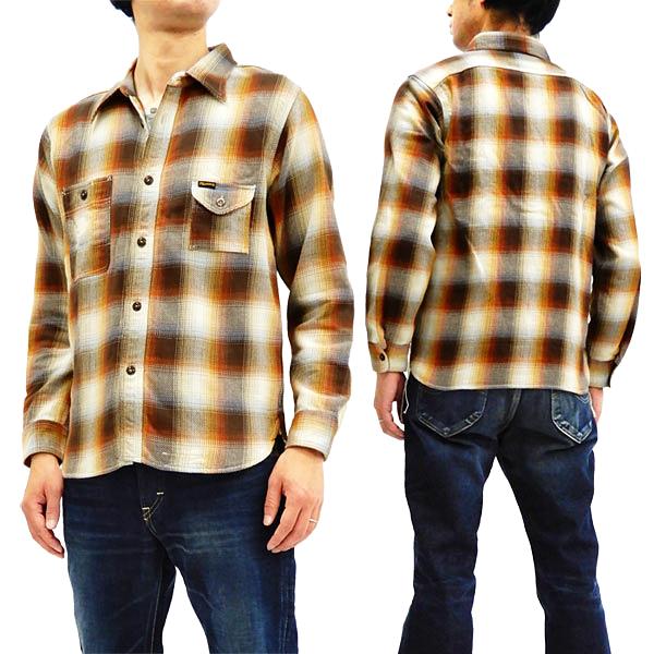 フェローズ 18W-750WS-C チェック ネルシャツ Pherrow's Pherrows メンズ ワークシャツ 長袖シャツ ブラウン 新品