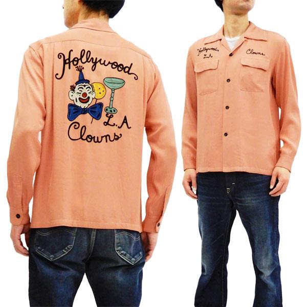 スタイルアイズ SE27974 刺繍 ボウリングシャツ 東洋 メンズ 長袖 ボーリングシャツ ピンク 新品