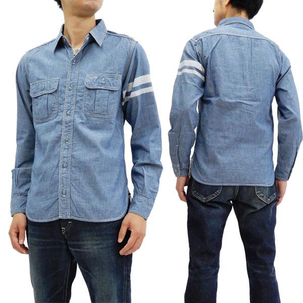 桃太郎ジーンズ SJ091 出陣シャンブレーワークシャツ メンズ 長袖シャツ インディゴ 新品