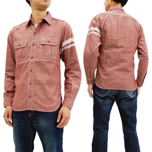 桃太郎ジーンズ SJ091 出陣シャンブレーワークシャツ メンズ 長袖シャツ レッド 新品