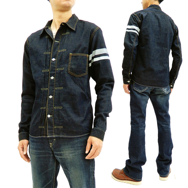 1fc4bd9539d Momotaro Jeans 05-197 Men s Slim fit Dark Indigo Denim Shirt Long Sleeve  type1 GTB