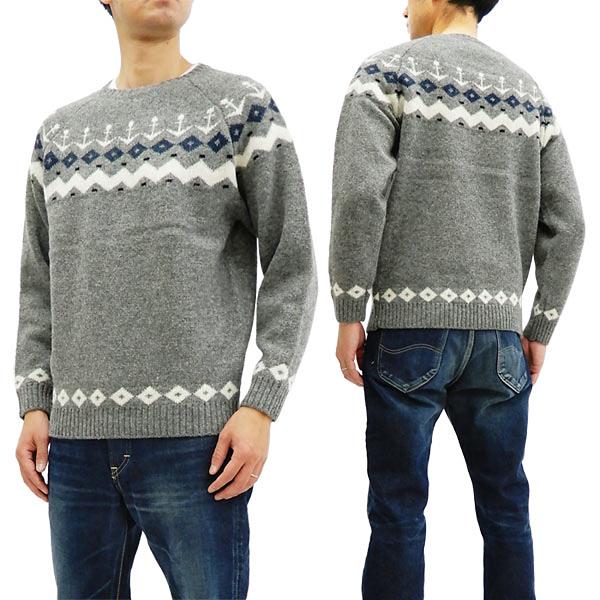 フェローズ セーター 18W-PSFS1 Pherrow's メンズ 雪柄 アンカーマーク ウールニット グレー 新品