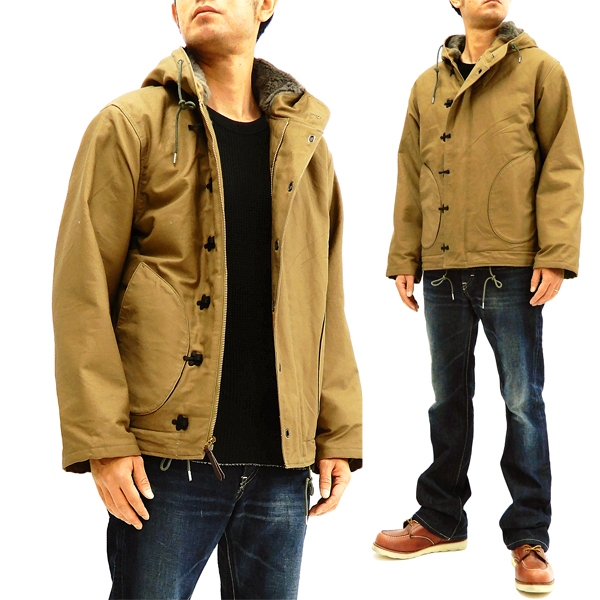 25cdbc392f Buzz Rickson Men's Hook-Front N-1 Parka Deck Jacket Hooded N-1 Coat BR14143