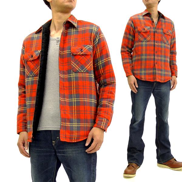 シュガーケーン SC14282 裏ボア チェック シャツジャケット Sugar Cane メンズ CPO 長袖シャツ 165レッド 新品