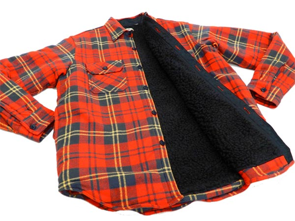 2f0ee1b7fd8 Sugar Cane Men s Sherpa Lined Shirt Jacket Twill Check Plaid Long Sleeve  SC14282