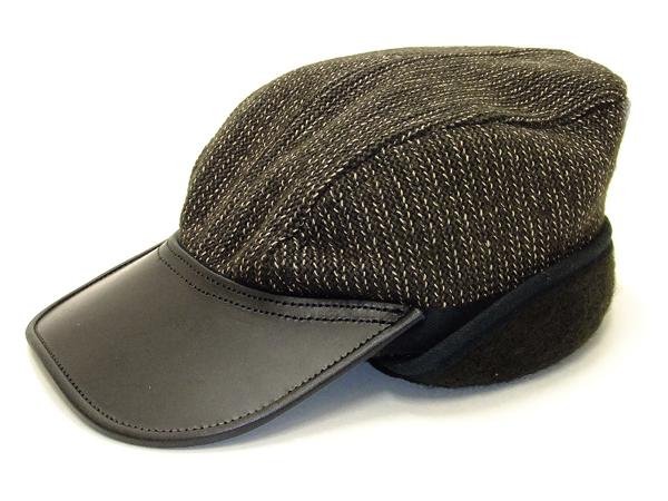 b871d948e56 Sugar Cane Men s Brown s Beach Cloth Work Cap with Ear Flaps Winter Hat  SC02568 Black