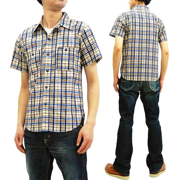 フェローズ 19S-720WSS-CH プリントチェック 半袖シャツ Pherrow's Pherrows メンズ 薄手 ワークシャツ 生成×ネイビー 新品