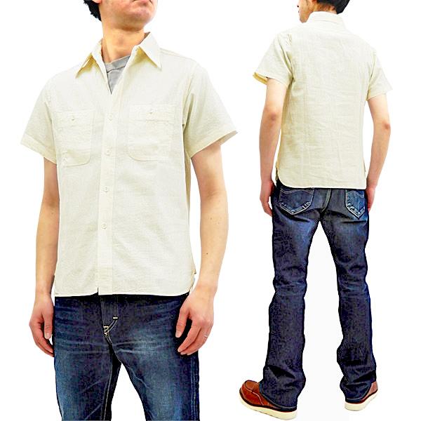 バズリクソンズ BR35857 シャンブレー ミリタリー ワークシャツ メンズ 無地 半袖シャツ 生成 新品