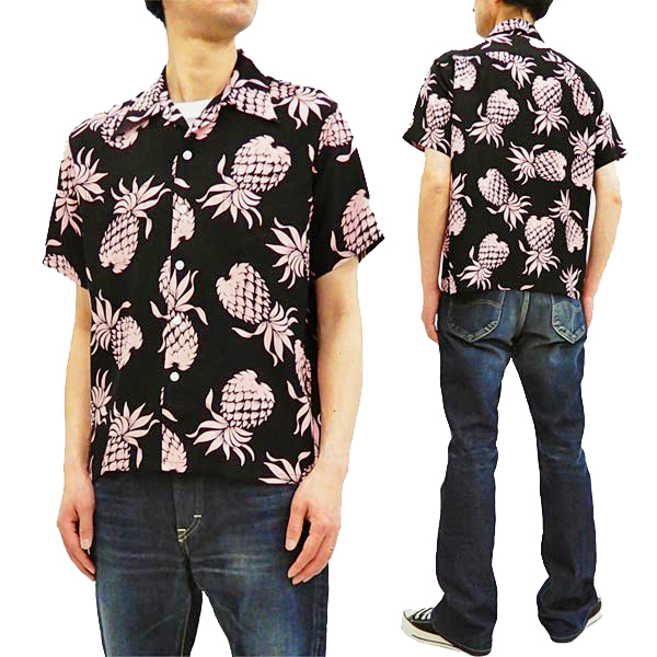 デューク・カハナモク アロハシャツ DK36201 パイナップル 東洋 メンズ ハワイアンシャツ 半袖シャツ ブラック 新品